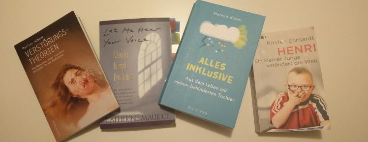zu sehen sind vier Bücher: Verstörungstheorien (Marlies Hübner), Let me hear yourvoice (Catherine Maurice), Alles inklusive (Mareice Kaiser), Henri (Kirsten Erhardt)